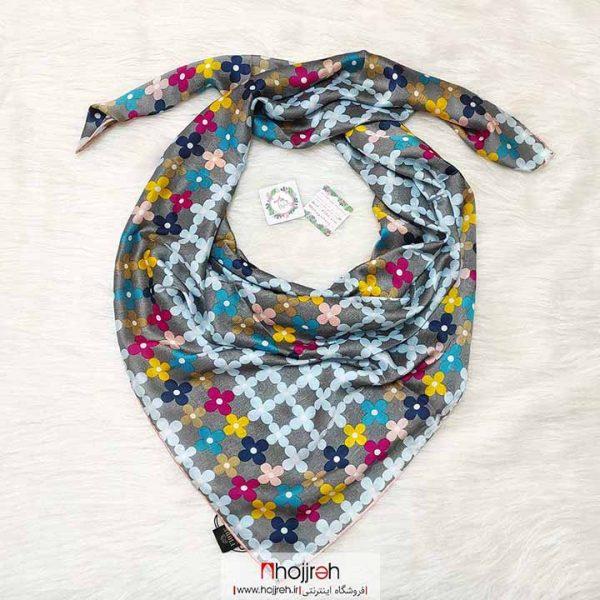 خرید روسری ابریشم ژاکارد مامی برند LV دستدوز وارداتی حجره دیبا گالری