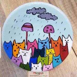 خرید بشقاب سفالی دیوار کوب طرح گربه های رنگی سایز کوچک حجره مونا آرت