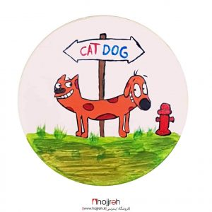 خرید بشقاب سفالی دیوار کوب طرح گربه سگ سایز کوچک حجره مونا آرت