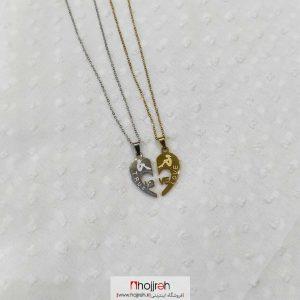 خرید گردنبند ست دوتایی استیل طرح LOVE حجره دیبا گالری